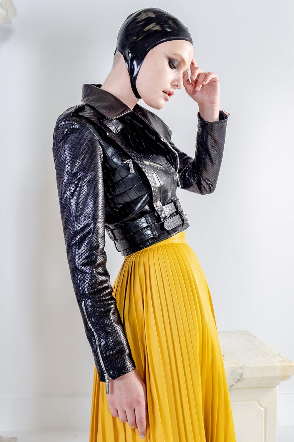 Rhapso cropped biker black leather jacket with crocodile and python leather