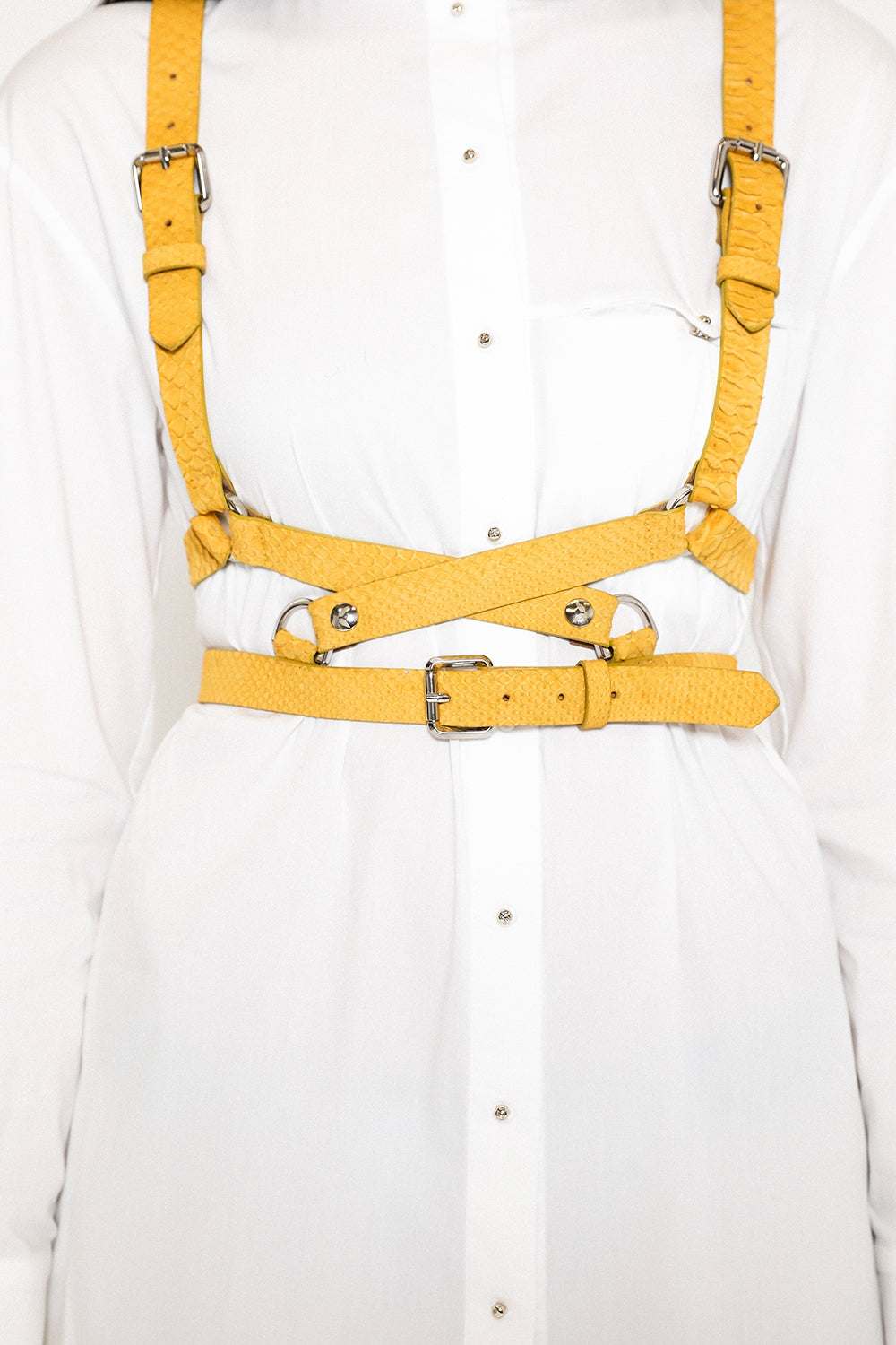 Python yellow cross body harness in leather with silver metal trims