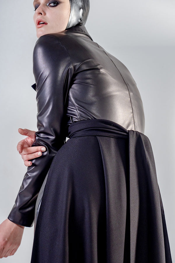 Leather coat in black