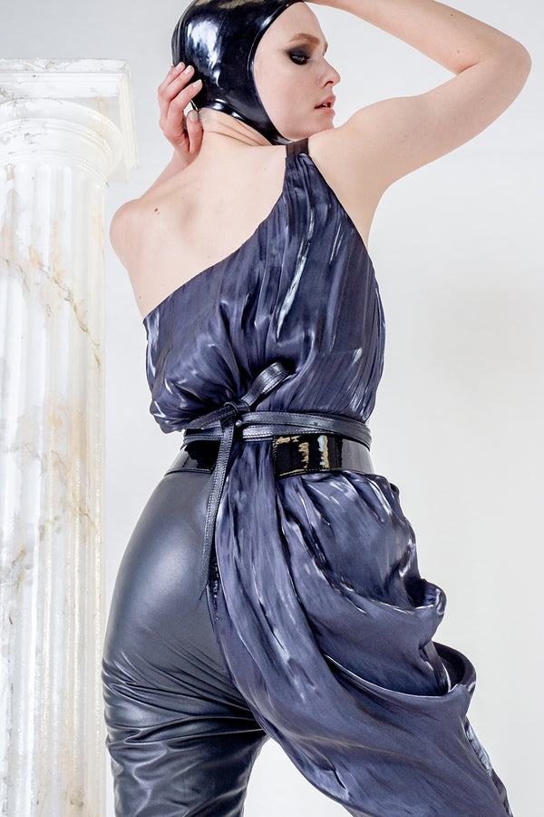 Selene black leather assymetric jumpsuit with silk drapes