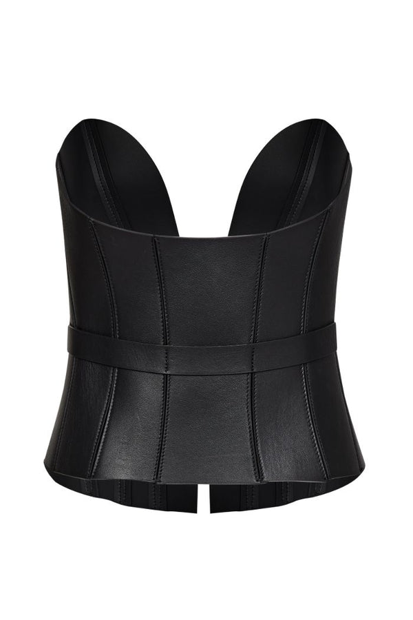 leather bustier black