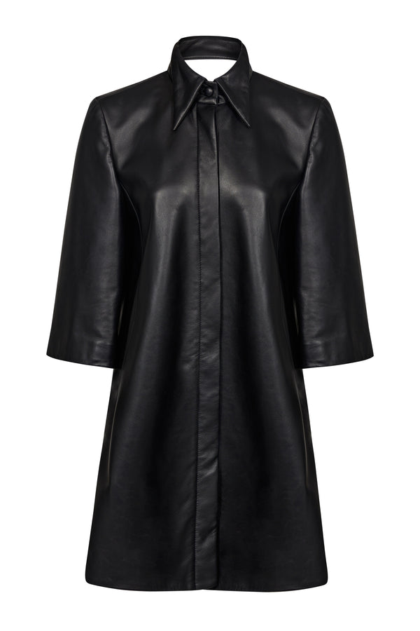 Leather Shirt Dress with Cut Out