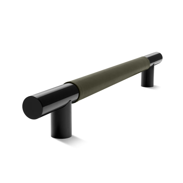 Metal Bar Door Handle | 600mm | Black Satin with Olive Leather Wrap | Single