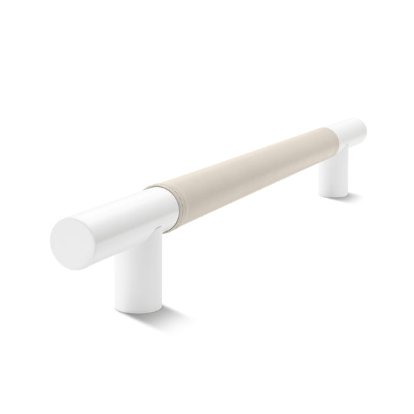 Metal Bar Door Handle | 600mm | White Satin with Classic Grey Leather Wrap | Back to Back Pair