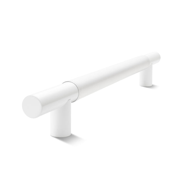 Metal Bar Door Handle | 600mm | White Satin with White Leather Wrap | Single