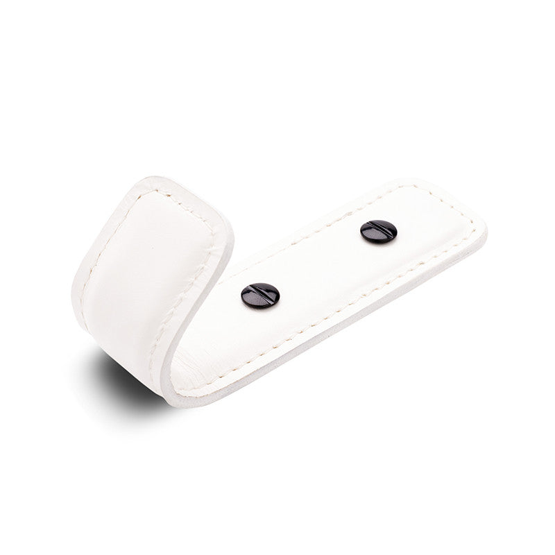Leather Half Coat Hook | White