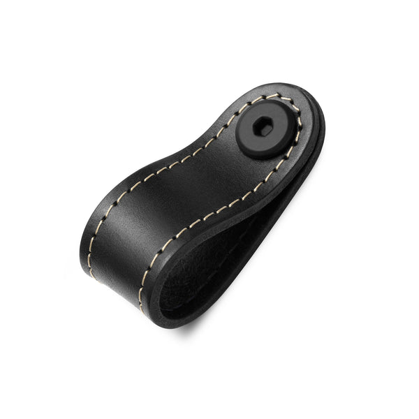 Leather Rounded Tab | Contrast Stitch | Black (Fixing Included)
