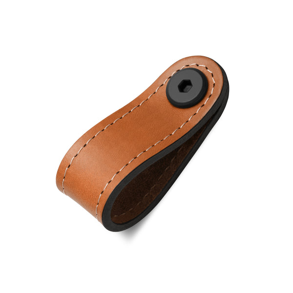 Leather Rounded Tab | Contrast Stitch | Saddle Tan (Fixing Included)