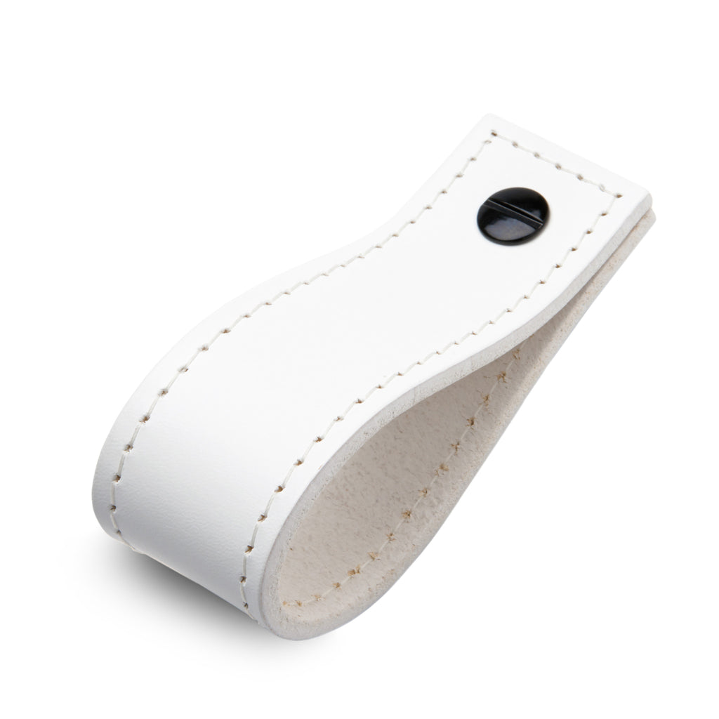 Leather Tab Long | Matching Stitch | White