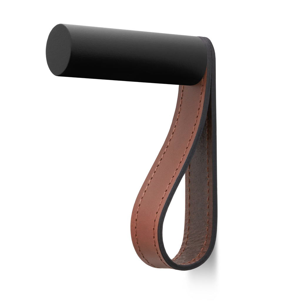 Valet Coat Hook | Matching Stitch | British Leather | Black Hook