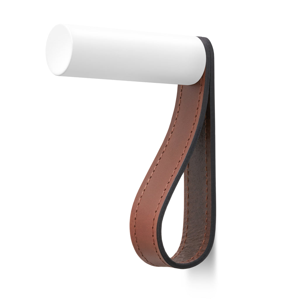 Valet Coat Hook | Matching Stitch | British Leather | White Hook