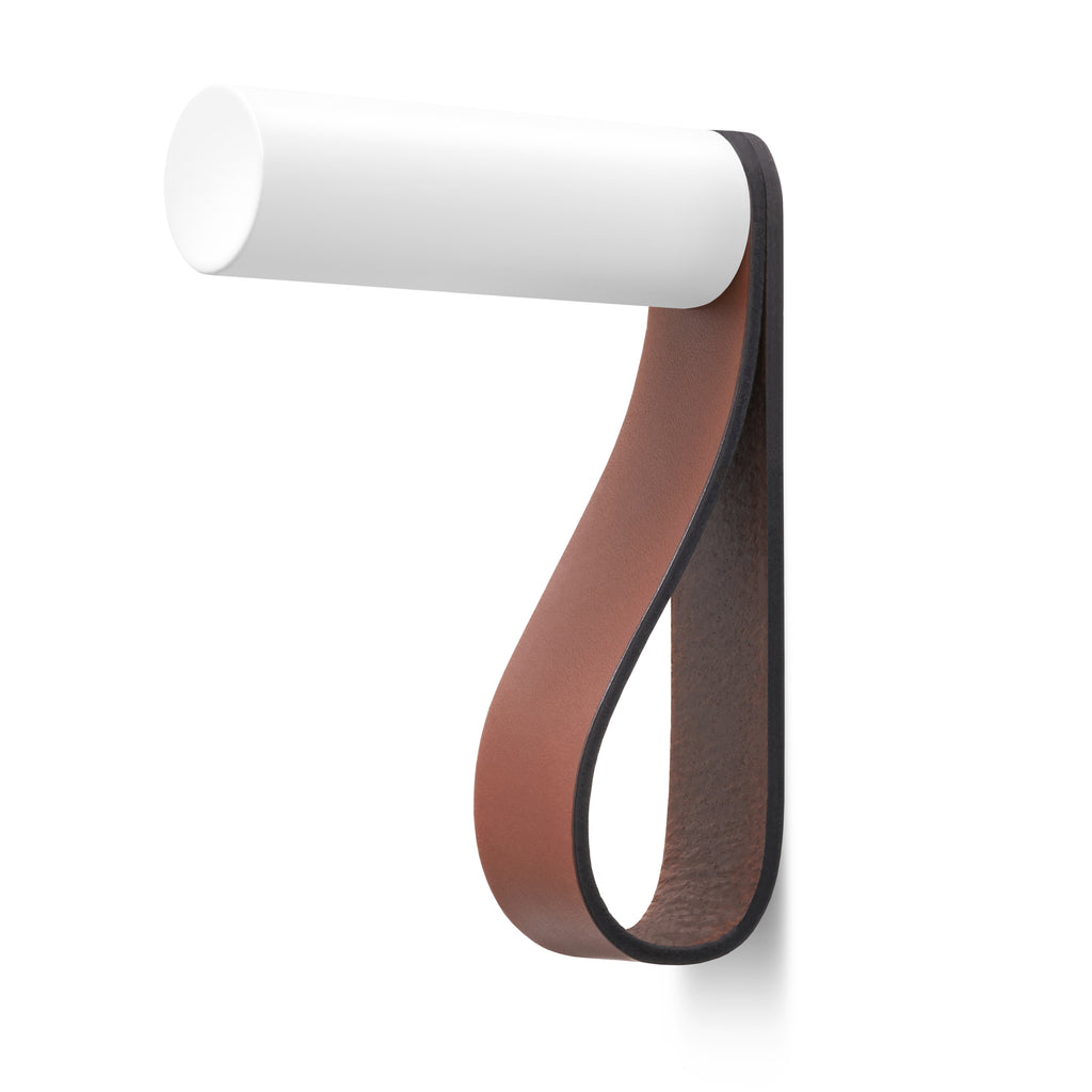 Valet Coat Hook | Unstitched | British Tan Leather | White Hook