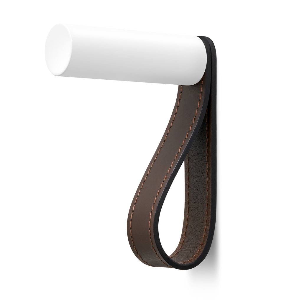 Valet Coat Hook | Matching Stitch | Chocolate Leather | White Hook