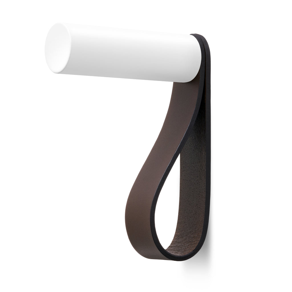 Valet Coat Hook | Unstitched | Chocolate Leather | White Hook