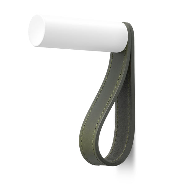 Valet Coat Hook | Matching Stitch | Olive Leather | White Hook