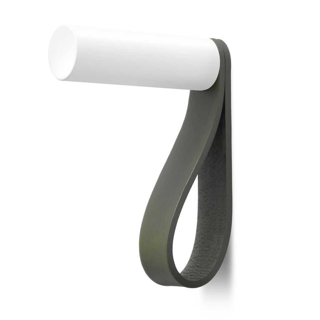 Valet Coat Hook | Unstitched | Olive Leather | White Hook