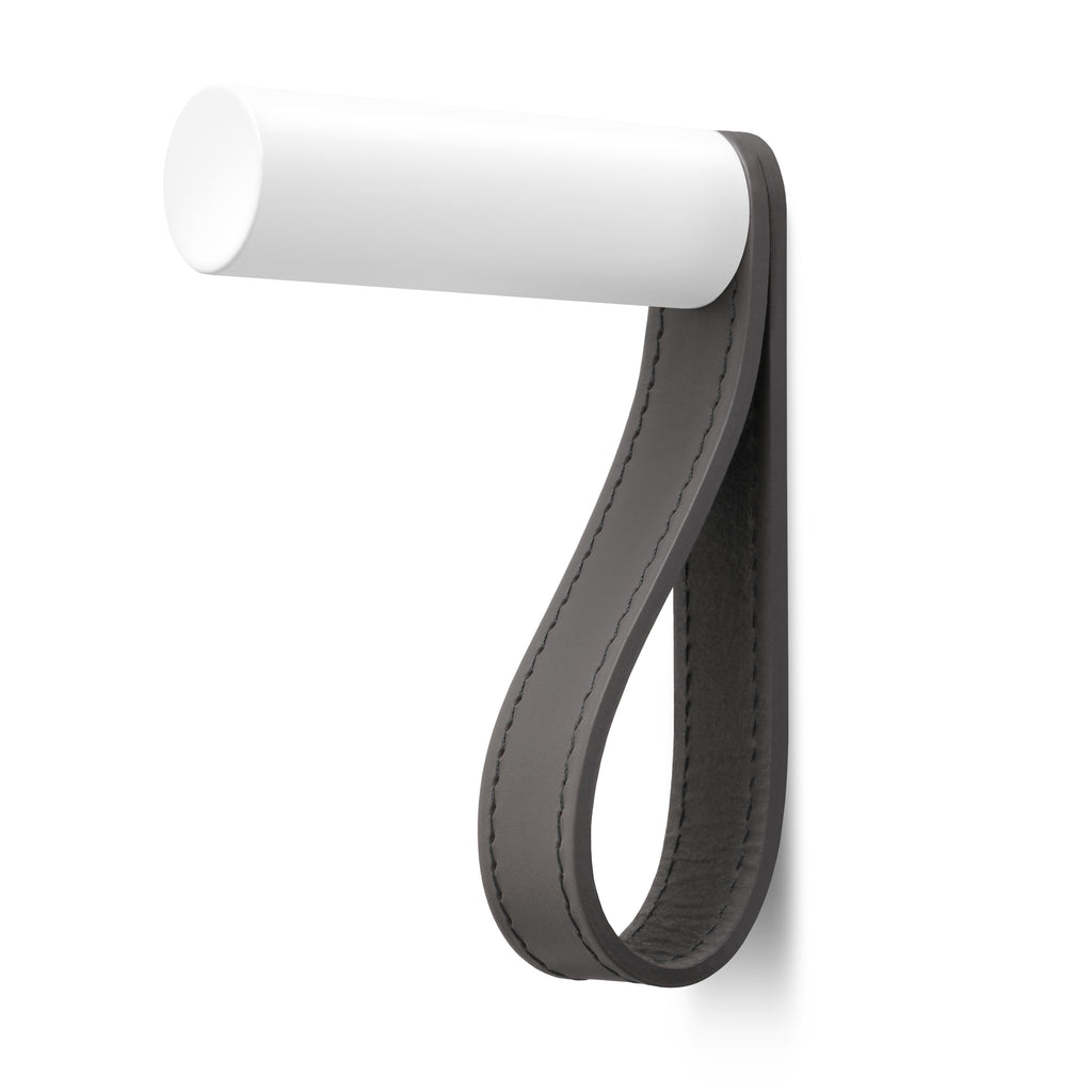 Valet Coat Hook | Matching Stitch | Slate Leather | White Hook