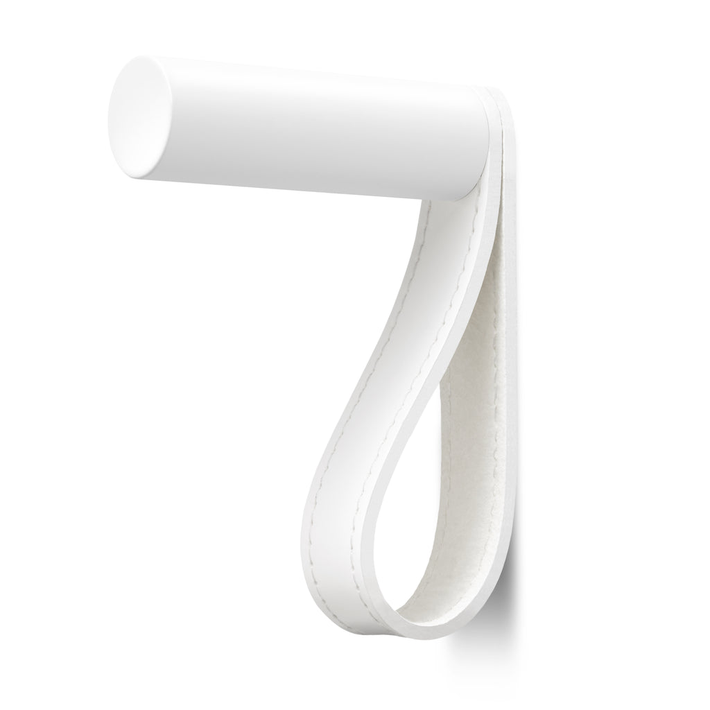 Valet Coat Hook | Matching Stitch | White Leather | White Hook