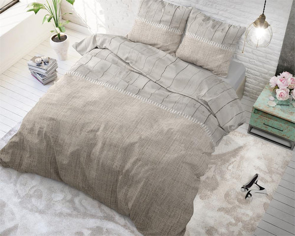 Posteljnina Wood fabric - taupe