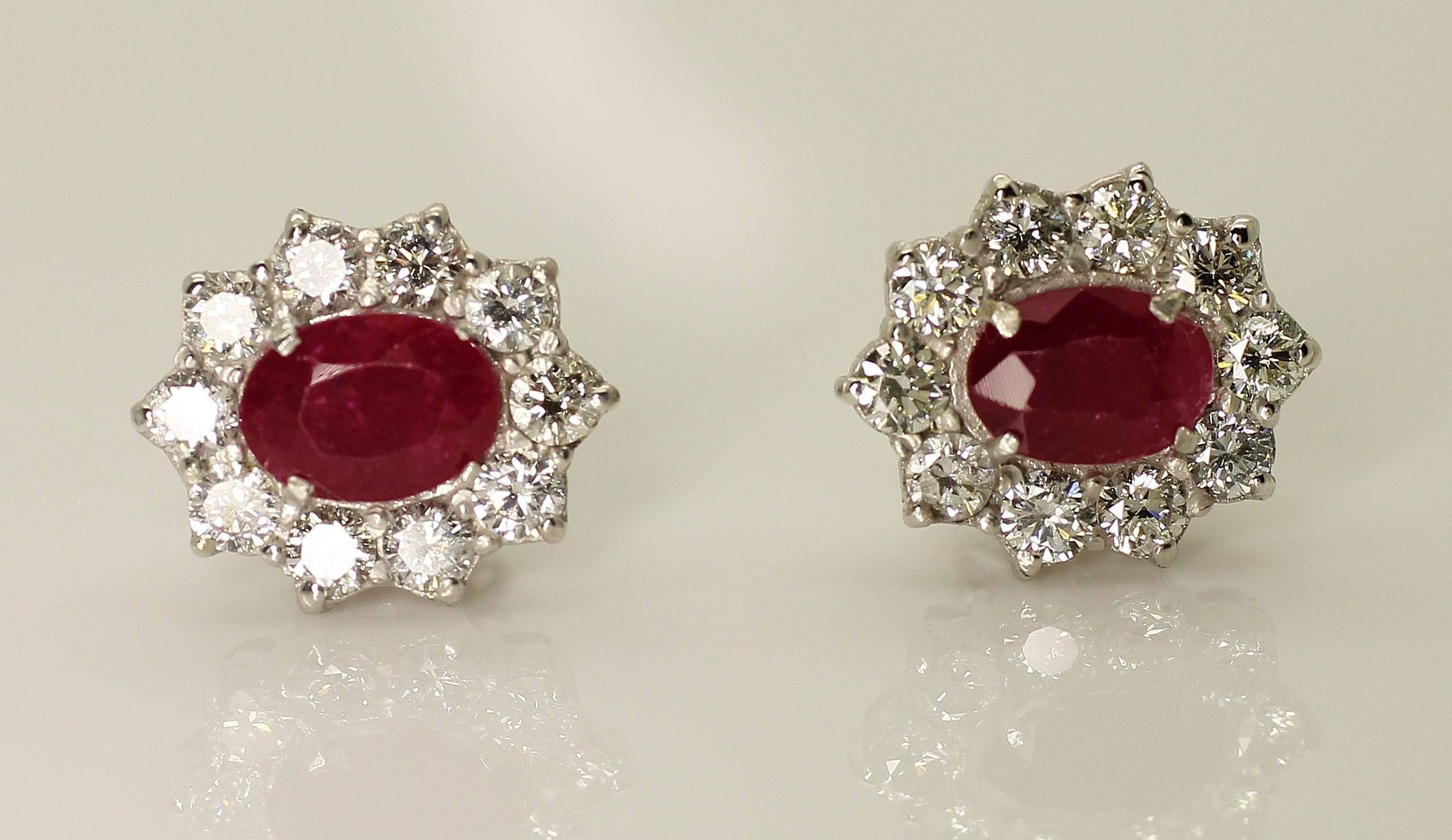 14K White Gold AIG Certified Natural Ruby 1.72ct Diamond 1.20ct Earrings - Aquagems.eu