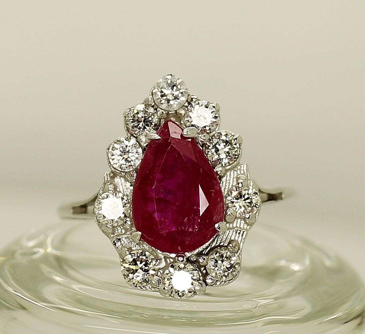 14K White Gold AIG Certified Ruby 1.77ct Diamond   .Ring - Aquagems.eu
