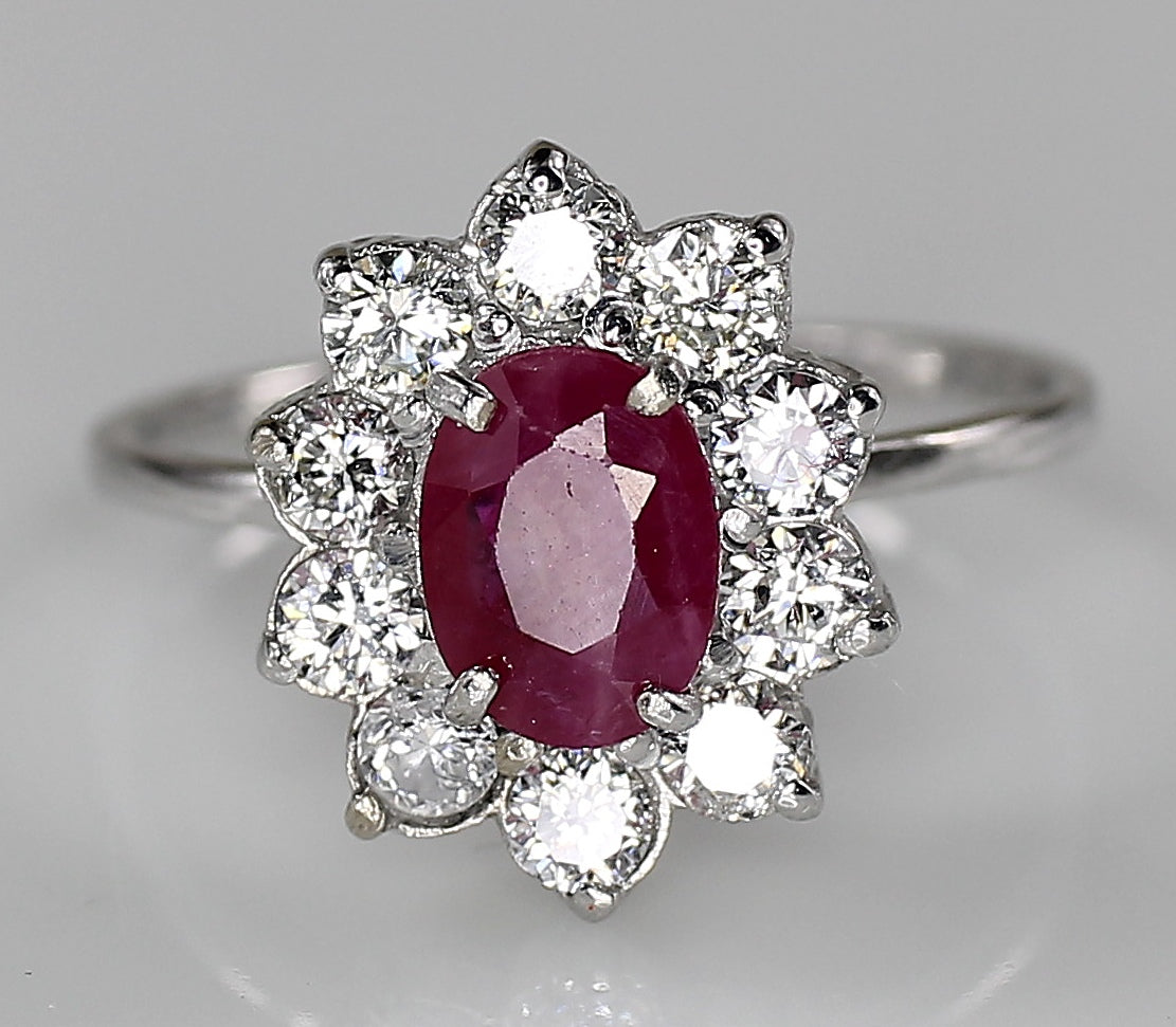 14K White Gold AIG Certified Natural Ruby 0.96ct Diamond 0.60ct Ring