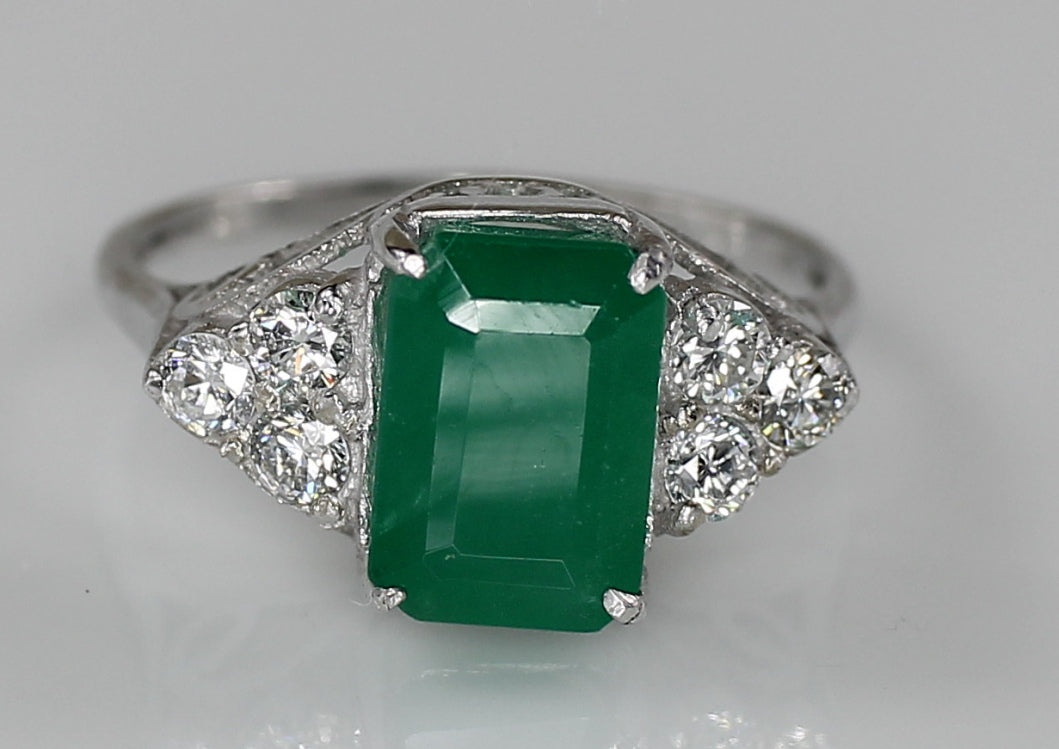 AIG Certified Zambian Emerald 2.16ct & Diamond 0.36ct White Gold Ring