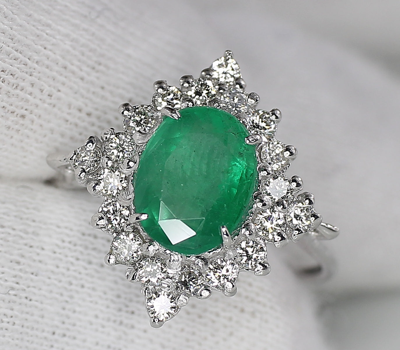 AIG Certified Natural Zambian Emerald 1.55ct Diamond 1.05ct Ring White Gold Ring