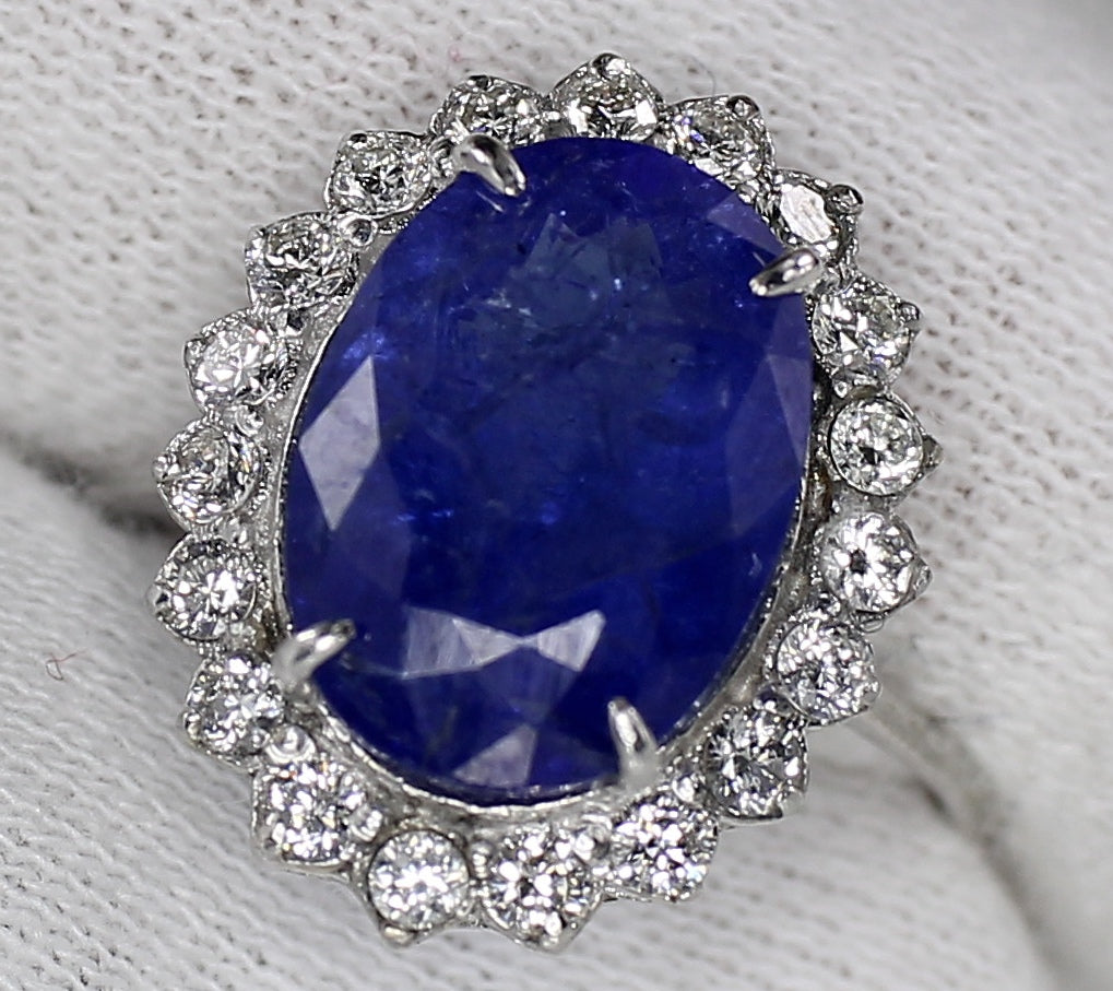 AIG Certified Natural Tanzanite 4.90ct White Gold Diamond 1.00ct Ring