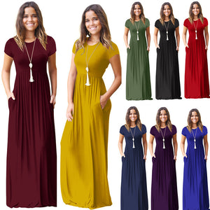 Plain Maxi Dresses Casual Long Dresses with Pockets