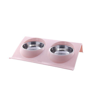 Double Bowls Pet dog cat Feeding Station Stainless Steel Water Food Bowls Feeder