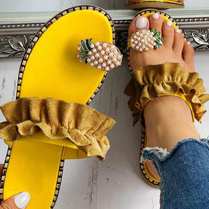 Pineapple Diamond Ruffled Sandals