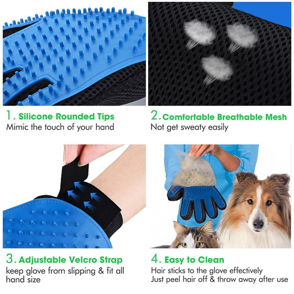 Glove Pet Hair Deshedding Brush Comb Glove For Pet Dog or cat Cleaning Massage Glove For Animal