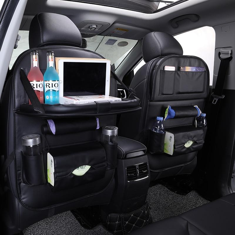Leather Car Back Seat Organizer with Tray