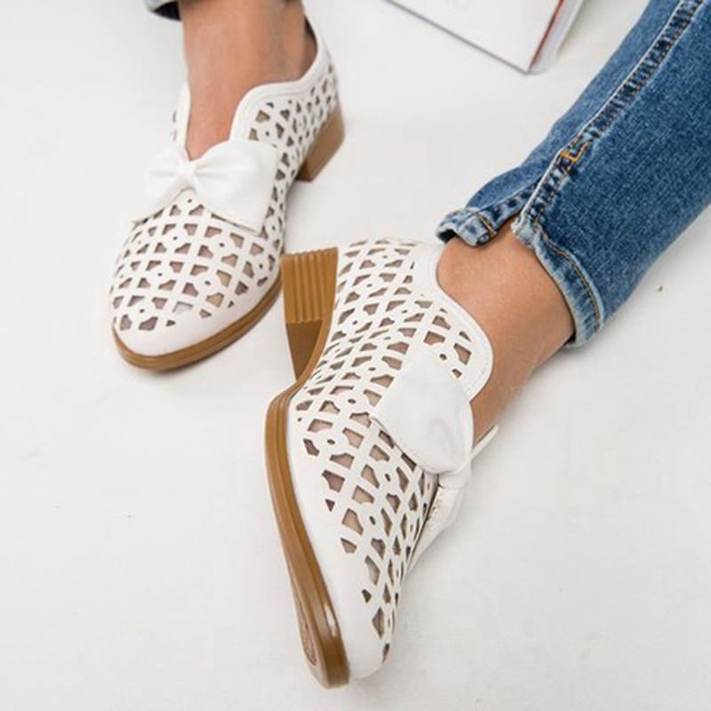 Bow Cutout Casual Women's Sandals