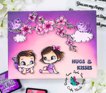 Hugs and kisses - love themed card by Linda