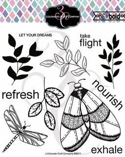 Colorado Craft Company Big & Bold~Majestic Moth Stamp Set - Crafty Meraki
