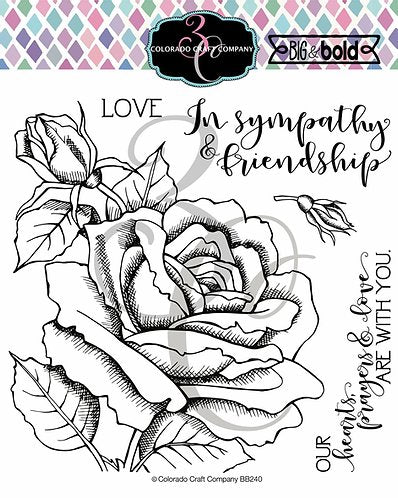 Colorado Craft Company Big & Bold~Sympathy Rose Stamp Set - Crafty Meraki