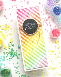 Pinkfresh Studio Diagonal Stripe Stencil - Crafty Meraki