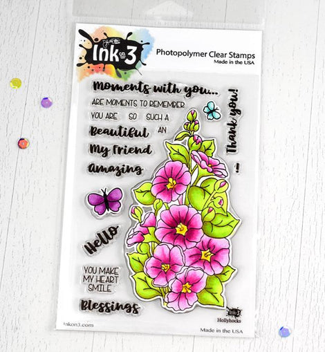 Inkon3 Hollyhocks 4x6 Clear Stamps - Crafty Meraki
