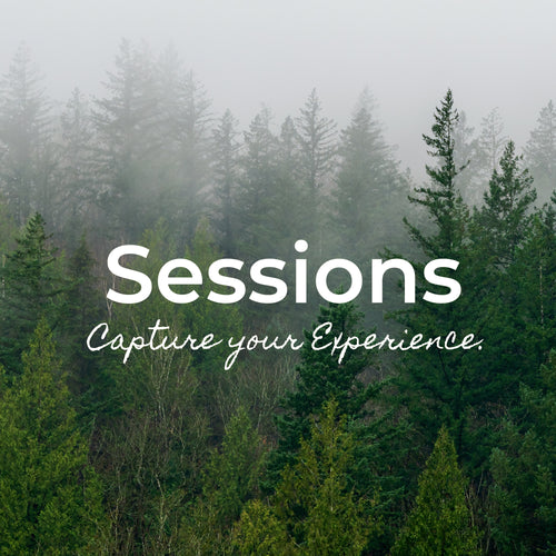 Green trees with mist blowing through them. Text over lay that reads; Sessions, capture your experience.