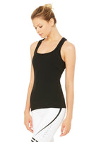 black ribbed built-in bra tank slim fit