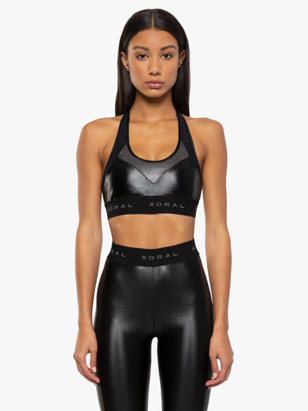 black full coverage scoop neck sports bra with T-back and open mesh straps