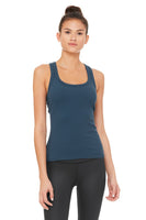 blue ribbed built-in bra tank slim fit
