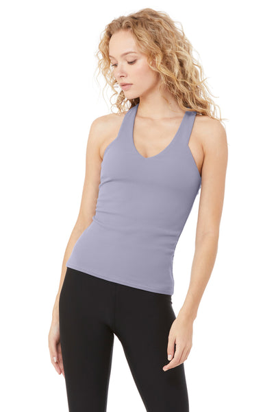 built-in bra tank with plunging neck line
