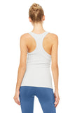 light grey ribbed built-in bra tank slim fit