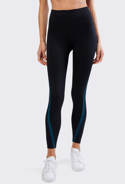 black legging with blue stripe