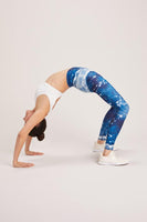 blue space leggings made from recycled plastic fabric