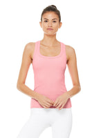 pink ribbed built-in bra tank
