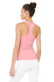 pink ribbed built-in bra tank slim fit